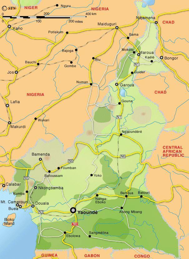 Географическая карта камеруна