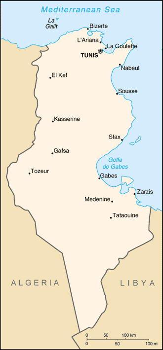 Тунис карта географическая карта