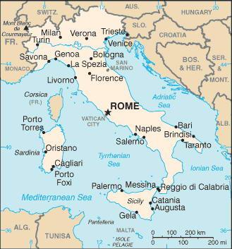 Италия карта географическая карта