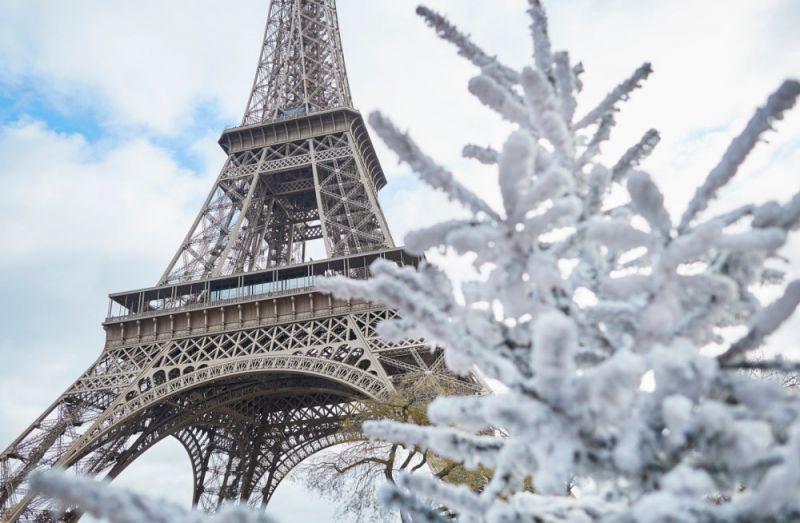 Во Франции снегопады