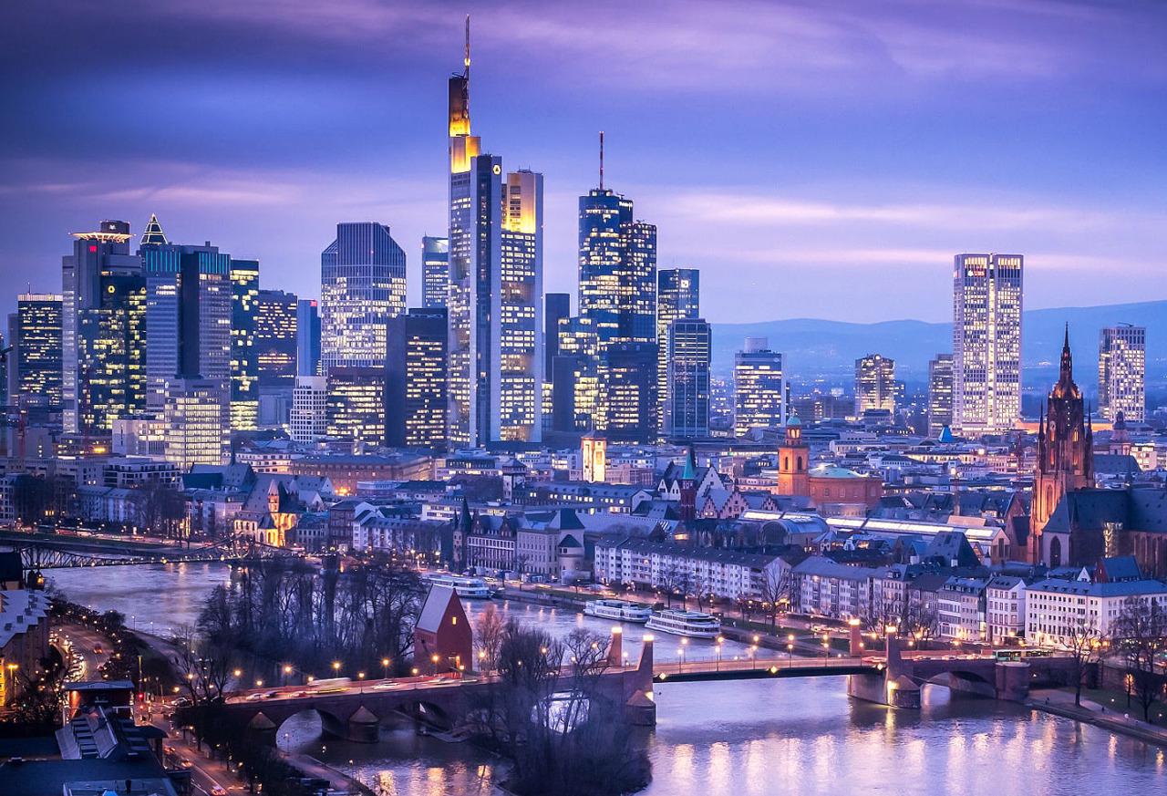 страны архитектура вечер город Франкфурт-на-Майне Германия  № 155541  скачать